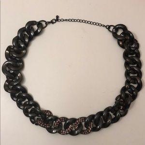 BaubleBar gunmetal chain necklace w/ purple accent